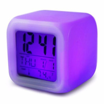 Reloj Despertador Cubo Led Cambia Color + Temperatura +fecha