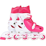 Patins Roller Row Infantil Rosa Regulável Do 35 A 38 - Mor