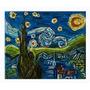 Obra De Arte. Noche Estrellada. Collage Sobre Madera