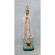 Imagem Nossa Senhora De Fátima Coroada Em Gesso- 58cm