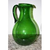 excelente jarron jarra cristal murano verde autentico grande