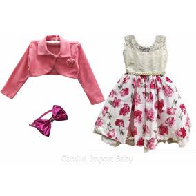 Vestido Festa Luxo Princesa Floral 4 Ao 16 E Bolero E Tiara