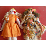 2 Bonecas De Pano - Artesanato Antigo