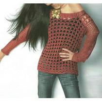 Tejidos Artesanales A Crochet: Sweater Calado Cuello Bote!!