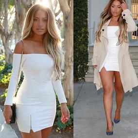 Roupa Feminina Vestido Sexy Casual Ombro A Ombro Branco