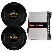 Par Alto Falante Eros E15 Sds 2.7k Modulo Taramps Hd3000