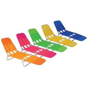 Kit C/ 03 Cadeiras Espreguiçadeira Praia Piscina Dobrável