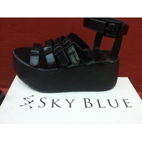 Sandalia Sky Blue Con Plataforma.
