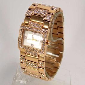 Relógio Feminino Dumont Bracelete Goldrose Cristais Sp89109s