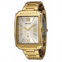 Relógio Seculus Grande 2 Anos Garantia 23380gpstda1 Gold