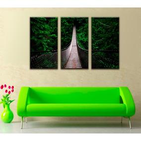 Imagen Puente Bosque Naturaleza Canvas 3 Pzas 50 X 94 Cm C/u