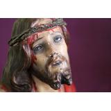 Antiguo Cristo.terracota Policromada Y Ojos De Cristal