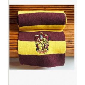 Cachecol Harry Potter Grifinória Lã + Colar Pomo De Ouro