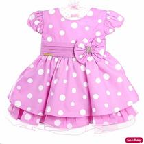 Vestido Infantil Minnie Rosa Luxo Bebe Com Faixa Minnie