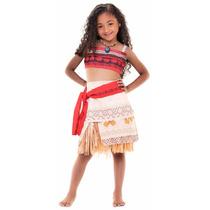 Fantasia Disney Moana Clássica + Colar Tamanh G 10 A 12 Anos