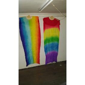 Abanico Seda 1.80cm Arco Iris Y De 5 Colores Seda Natural
