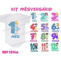 Kit Body Mês A Mês - Mesversário - Kit 12 Bodys Bebê - Bori