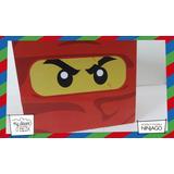 Souvenirs Evento Caja Personalizado Madera 9cm2 Ninjago Rojo