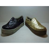 Pancha Zapato Alpargata Zapatilla Glitter Brillo Niñas Teen
