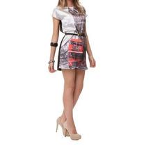 Vestido Cetim Divine - Frente Estampa London - Com Cinto