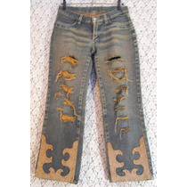 Calça Jeans Hippie 38 Union Bay Customizada Recycled Couro
