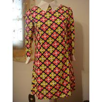 Vestido Mini Vest Gola Geometrica Tam. U Importado Ja Brasil
