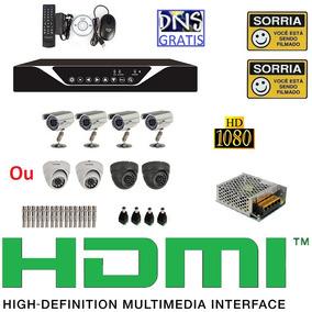 Kit Cftv 4 Cameras Infravermelho Sony Dvr 4 Canais Celular !