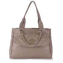 Bolsa Shopping Bag Em Couro Cesaretti - Taupe U