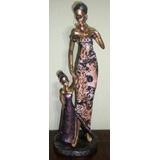 Figura Escultura Mujer Africana Vestido De Tela Animal Print