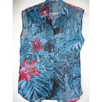 Camisa Manga Curta, Em Seda Com Polyester!
