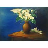 Quadro Pintura Òleo Sobre A Tela Flor Copos De Leite