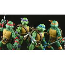 Tartarugas Ninja - 4 Peças De 17cm Com Base E Acessorios