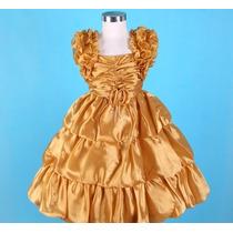 Vestido Infantil Princesa / Festa / Florista Frufru Dourado