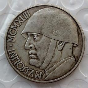 Moeda Itália 20 Liras 1943 Medalha 37mm Mussolini