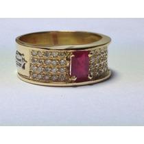 Anel De Formatura Luxo Diamantes E Pedra Natural. Ouro 18k.