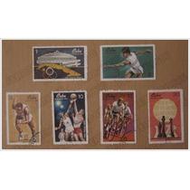 Colección 6 Timbres Postales - Juegos Deportivos - Cuba 1969