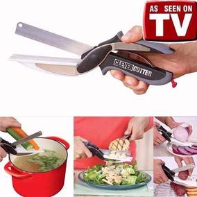 Super Tesoura Legumes Verduras 2 Em 1 Cozinha Faca Fatiador