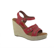 Sandalias Dama Chocolate Cuero Color Coral/rojo