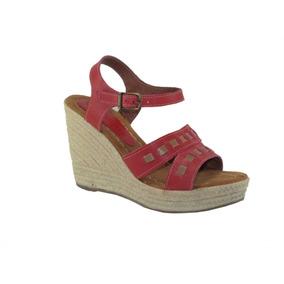 Sandalias Dama Chocolate Cuero Color Coral/rojo