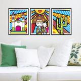 Kit Conjunto 3 Quadros Lampião E Maria Bonita Cordel Pop Art