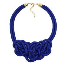Collar De Moda Tipo Nudo Marinero Color Azul Electrico