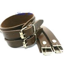 Bracelete Couro Marrom 2 Fivelas - Unissex - Frete Grátis!!