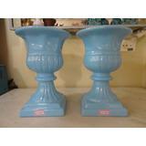 #12383 - Par Vasos Romanos Porcelana Esmaltada, Azul!!!