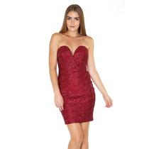 Vestido Antro Fiesta Casual Moda Fashion Rojo Bordado