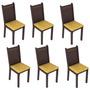 Conjunto 6 Cadeiras Lucy Madesa Tabaco/ Palha