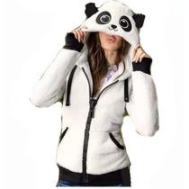 Sudadera Para Dama Oso Panda Chamarra Puños Guante
