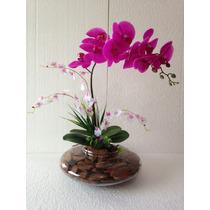 Arranjo De Orquídea Silicone Púrpura Em Vaso De Vidro Grande