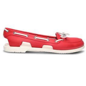 Zapato Crocs Dama Beach Line Boat Shoe Rojo