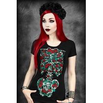 Blusa Camiseta Playera Esqueleto Rosas Dark Gotico Gotham