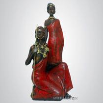 Casal Massai Africano - Escultura Estatueta Enfeite